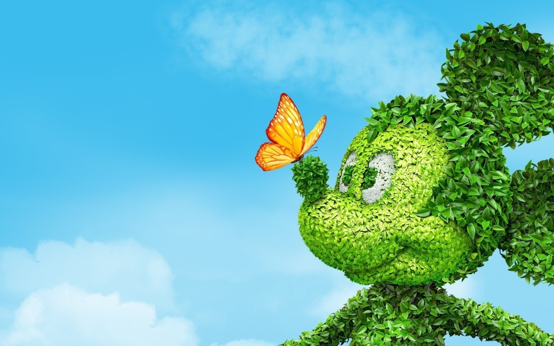 Картинка: Микки Маус, листья, бабочка, небо