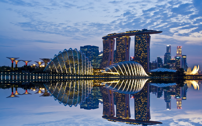 Картинка: Сингапур, Marina Bay Sands, отель, Hotel, здания, архитектура, достопримечательность, вода, отражение, небо, вечер