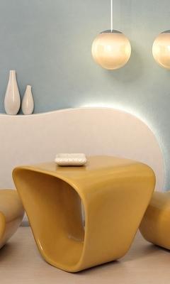 Картинка: Люстры, стол, стулья, круги, декор, подсветка, карамельный цвет
