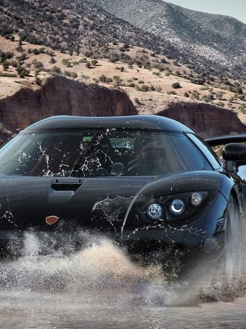 Картинка: Автомобиль, суперкар, чёрный, фары, вода, брызги