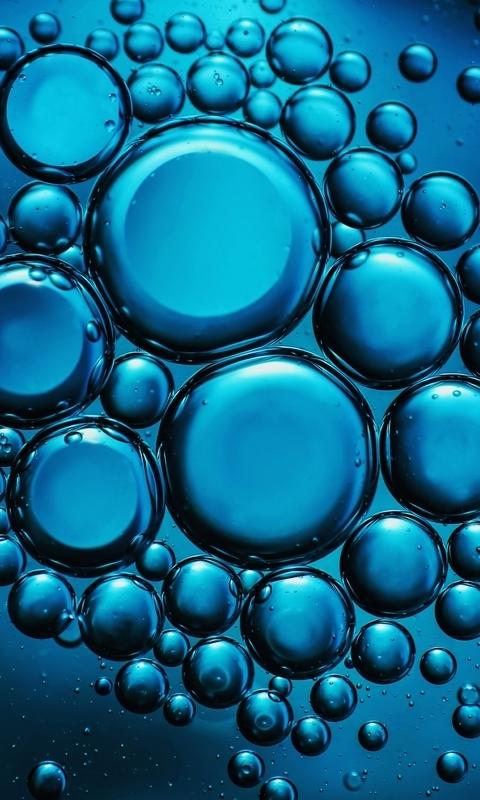 Картинка: Пузыри, капли, разные по размеру, вода