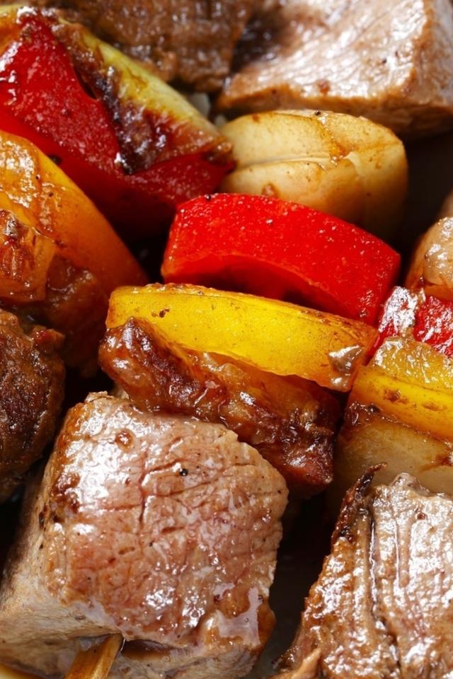 Image: Kebab, meat, vegetables, skewers, fire