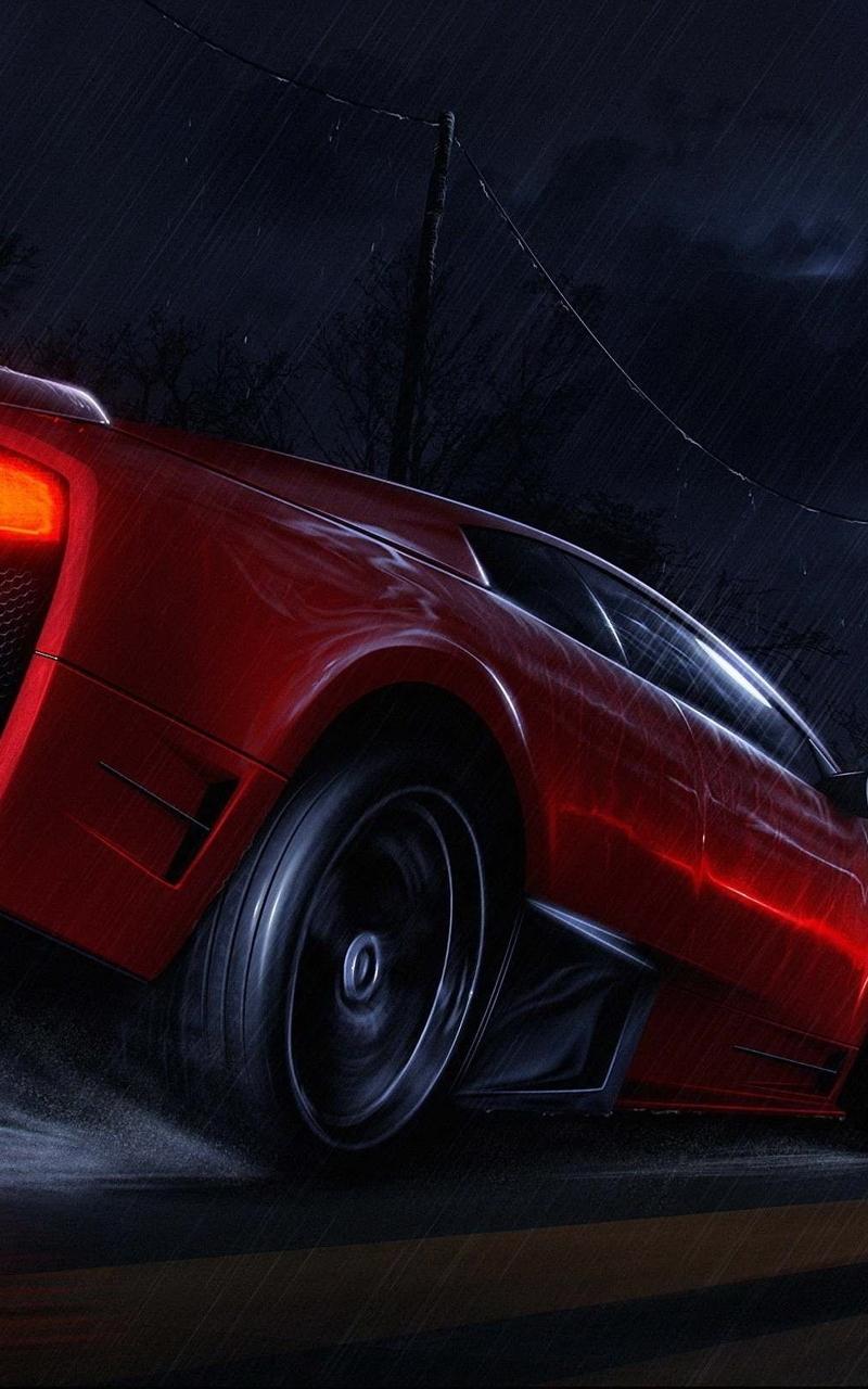 Картинка: Суперкар, красный, Lamborghini, дорога, луна, ночь, дождь, скорость, брызги