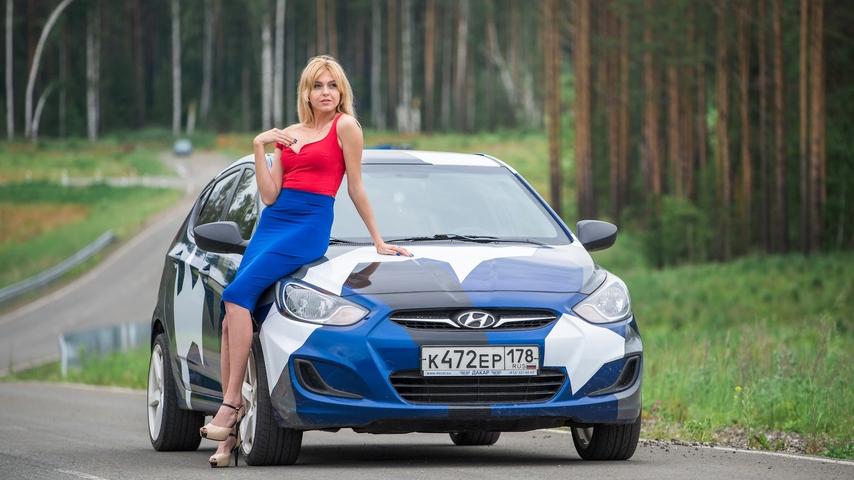 Картинка: Hyundai, Solaris, автомобиль, девушка