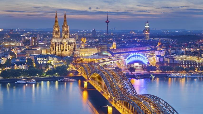 Image: City, evening, Cologne, Germany, river, bridge, view