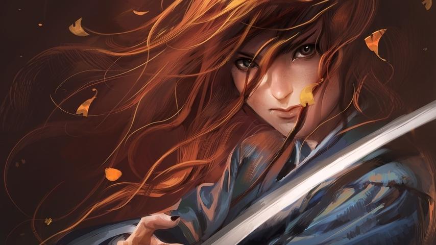 Картинка: Девушка, волосы, листья, ветер, меч, катана, взгляд, рыжеволосая, арт