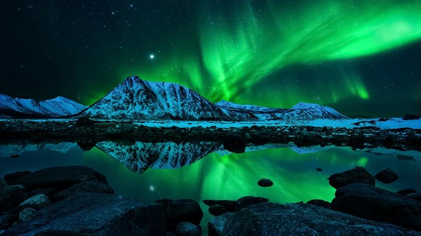 Картинка: природа, северное сияние, горы, небо, озеро, ночь